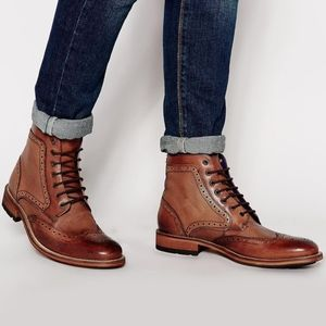 TED BAKER SEALLS 3 Leather Wingtip Ankle Boots